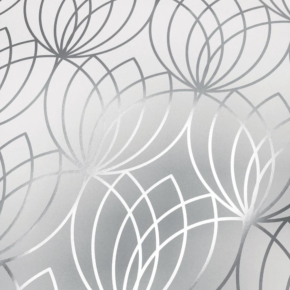 Muriva Lotus Geometric Metallic Shimmer Smooth Luxury Modern Wallpaper 148501