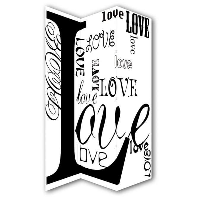 I Want Wallpaper Love Typography Canvas Dressing Privacy Screen Folding 3 Panel Room Divider HW6277