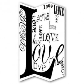 Love Typography Canvas Dressing Privacy Screen Folding 3 Panel Room Divider HW6277