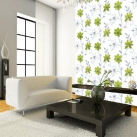 Luciana Flower Floral Leaf Motif Green White Metallic Wallpaper Produced By Arthouse 417103