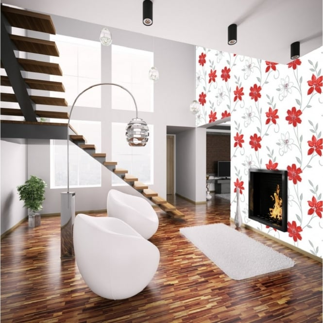 I Want Wallpaper Luciana Flower Floral Leaf Motif Red White Metallic Wallpaper Produced By Arthouse 417105