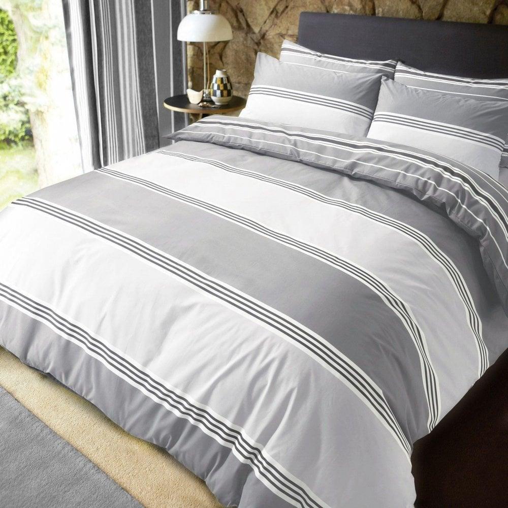 Grey King Size Bedding Sets.Luxury Banded Stripe Grey Duvet Set Reversible Quilt Cover Bedding Super King Size 261924