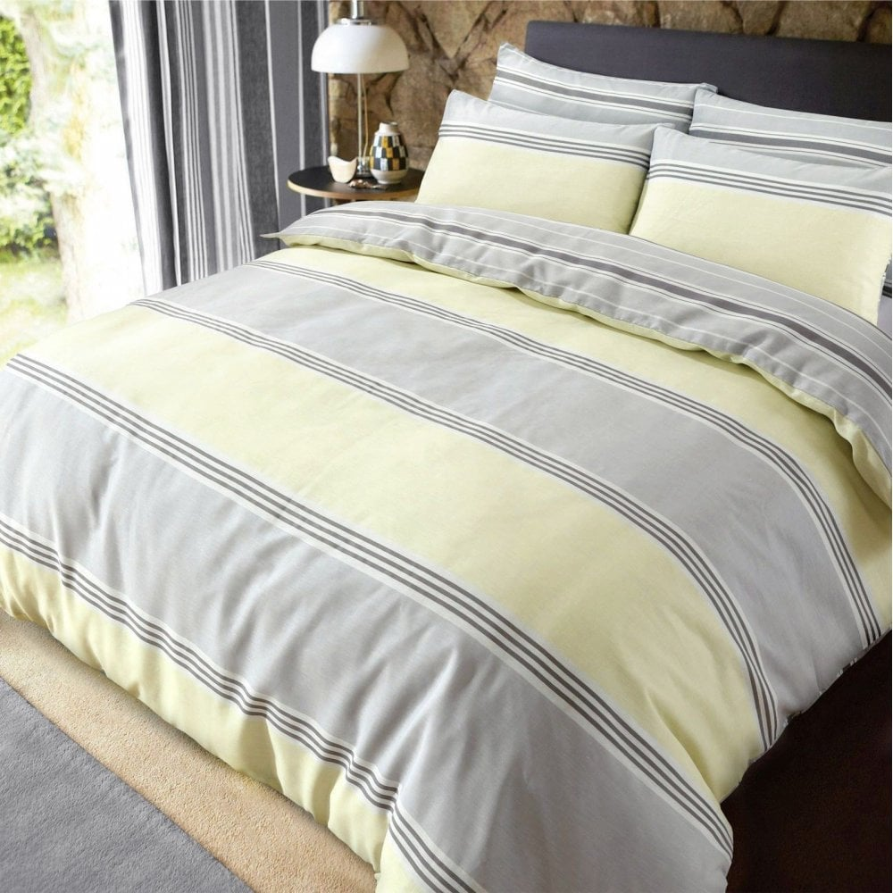 Luxury Banded Stripe Grey Yellow Duvet Set Reversible