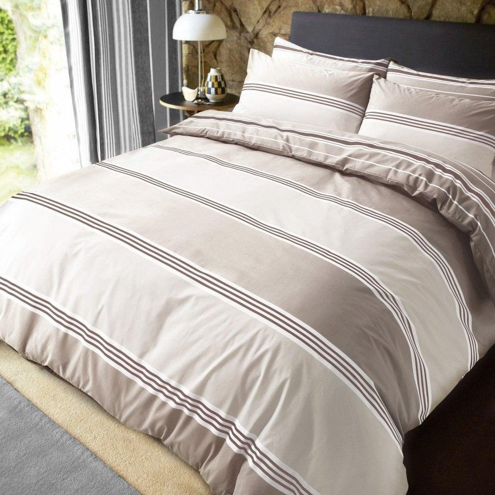 Luxury Banded Stripe Natural Duvet Set Reversible Quilt Cover Bedding King Size _image Jpg