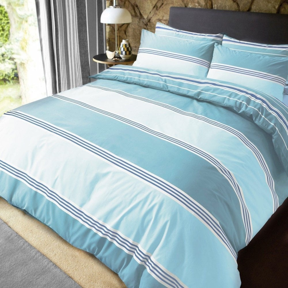 Luxury Banded Stripe Teal Duvet Set Reversible Quilt Cover
