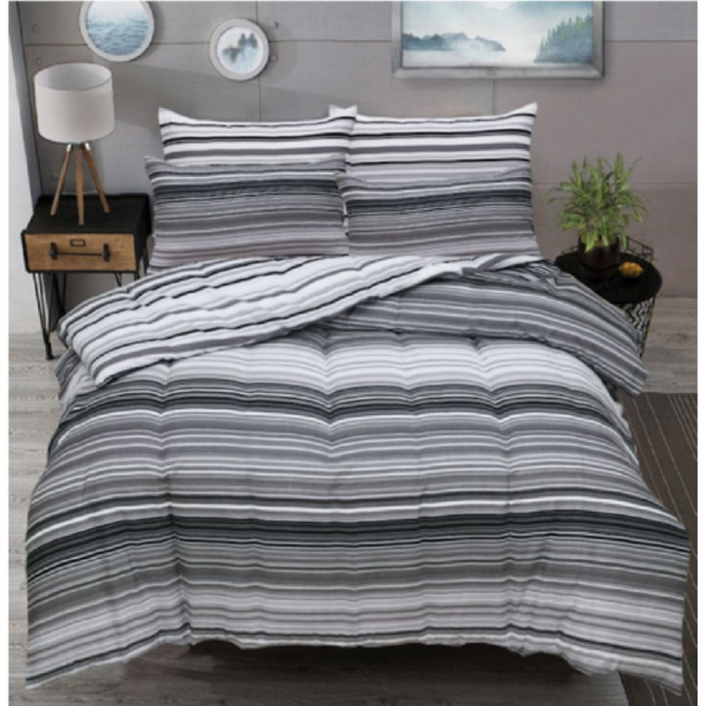 Luxury Ombre Stripe Grey Duvet Set Reversible Quilt Cover