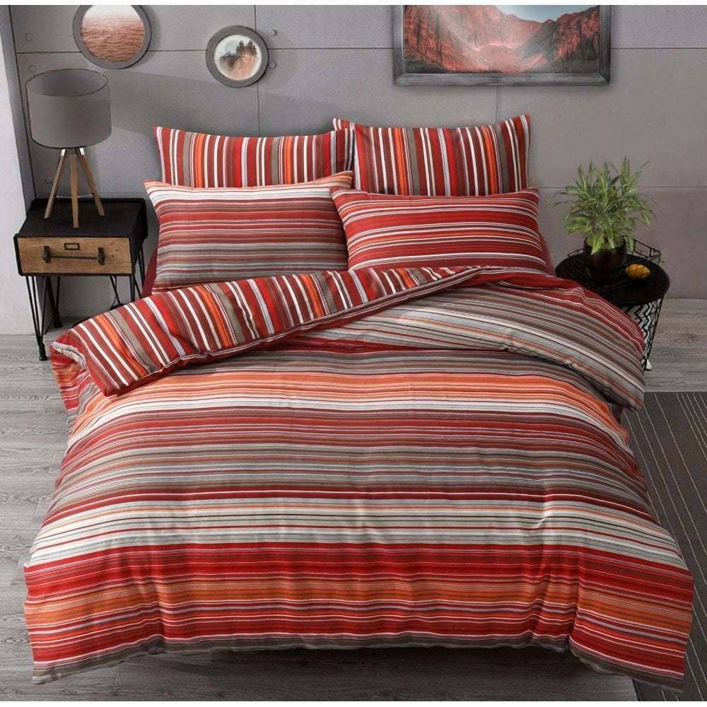 Teal Banded Stripe Duvet Cover With Pillowcases Quilt Cover Bedding Set  NEW