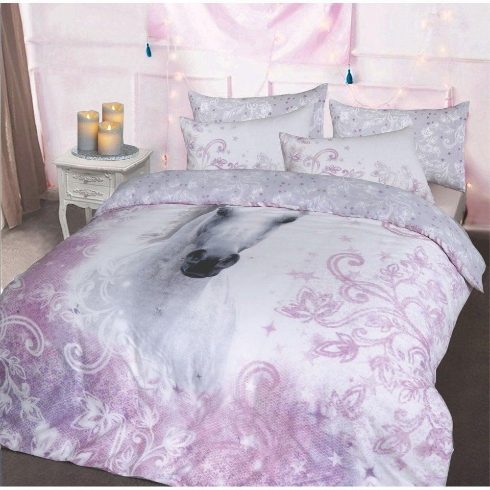 Luxury Pritty Lilac Unicorn Duvet Pillowcase Bedding