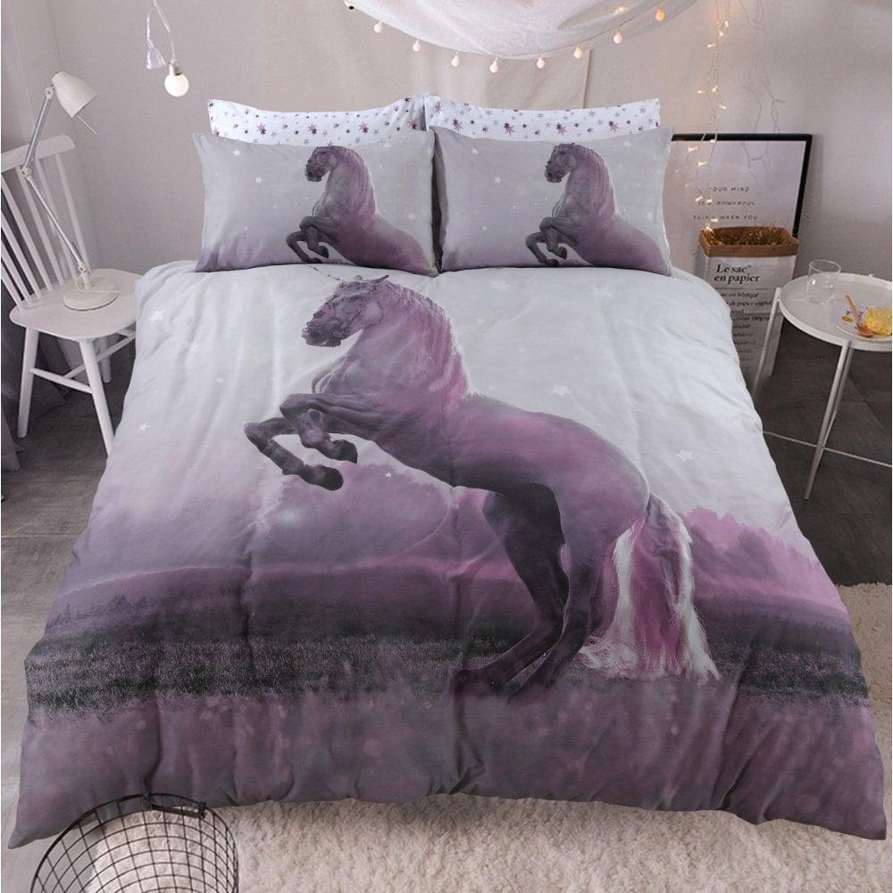 Luxury Reversible Duvet Quilt Cover Pillowcases Bedding Sets Floral /& Unicorn