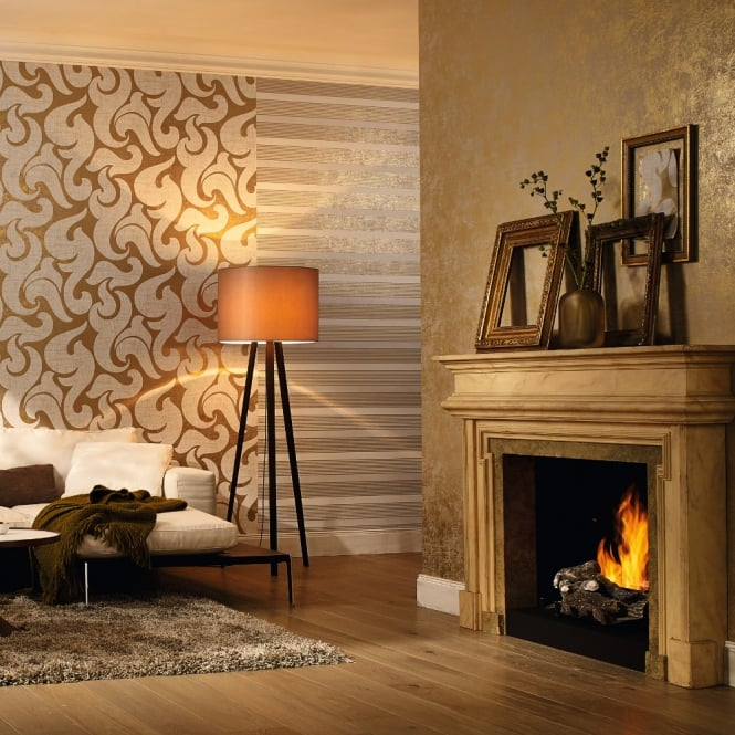 Marburg Wallcoverings Marburg Rae Scroll Damask Pattern Wallpaper Modern Embossed Metallic 53142