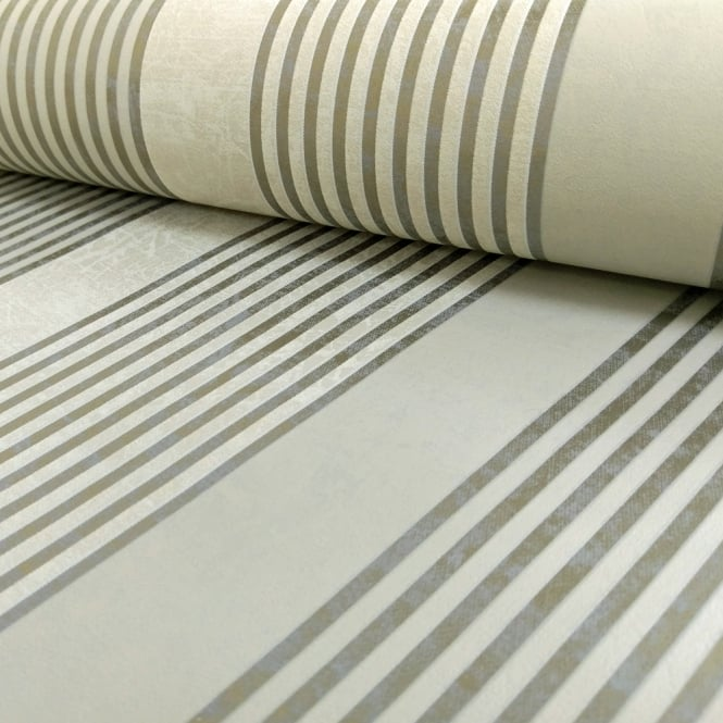 Marburg Wallcoverings Marburg Rae Stripe Pattern Wallpaper Marble Motif Modern Embossed Metallic 53102