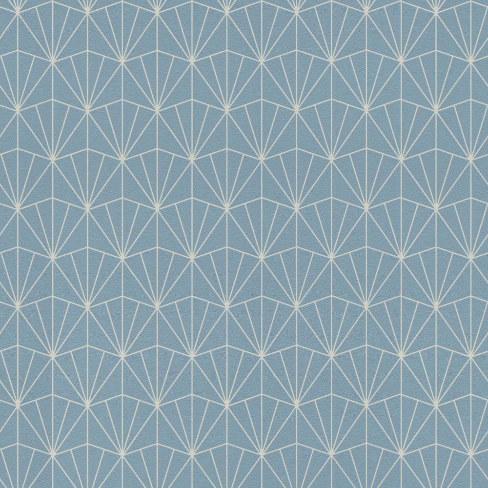 Midland Art Deco Blue Geometric Metallic Silver Non Woven Wallpaper 434057