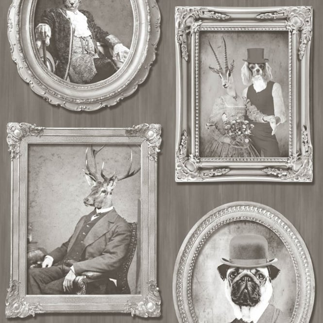 Muriva Animals in Frames Dogs Stags Tiger Photo Motif Vinyl Wallpaper J92108