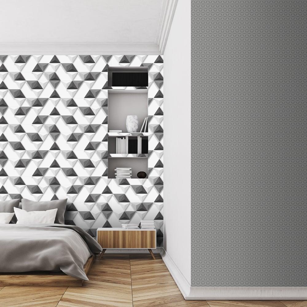 Muriva Triangle Pattern Wallpaper Geometric Metallic 3d Vinyl L42419