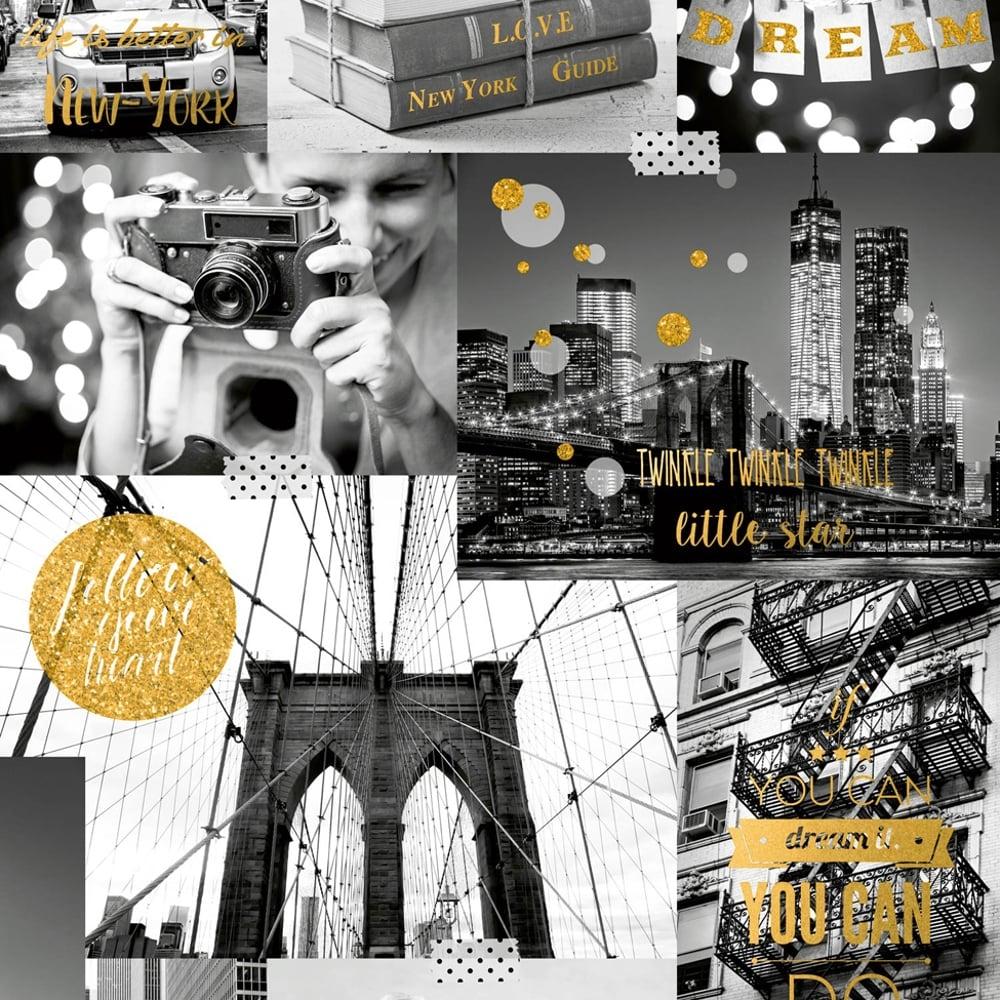Muriva Big City Wallpaper New York Photo Pattern Glitter