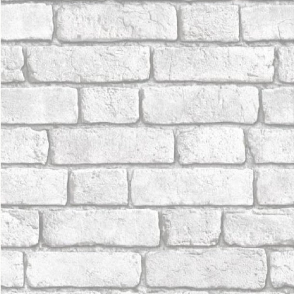 Muriva Bluff Embossed Brick Effect Wallpaper J30309 White I Want Wallpaper