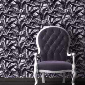 Muriva Bluff Grey Silk Motif Fabric Faux Effect Mural Wallpaper F72909