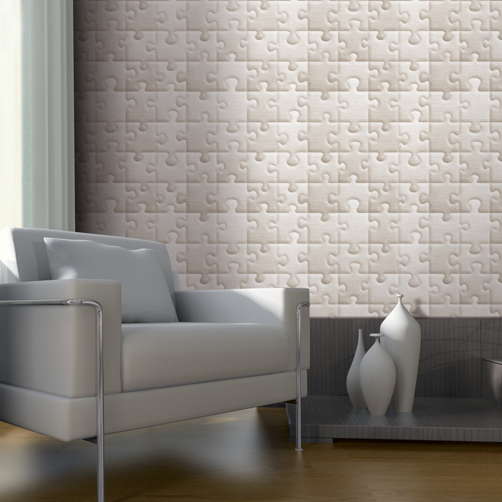 Muriva bluff jigsaw pattern padded fabric effect textured for Padded wall wallpaper