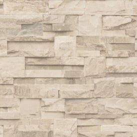 Muriva Bluff Slate Stone Brick Effect Wallpaper J27407
