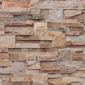 Muriva Bluff Slate Stone Brick Effect Wallpaper J27408