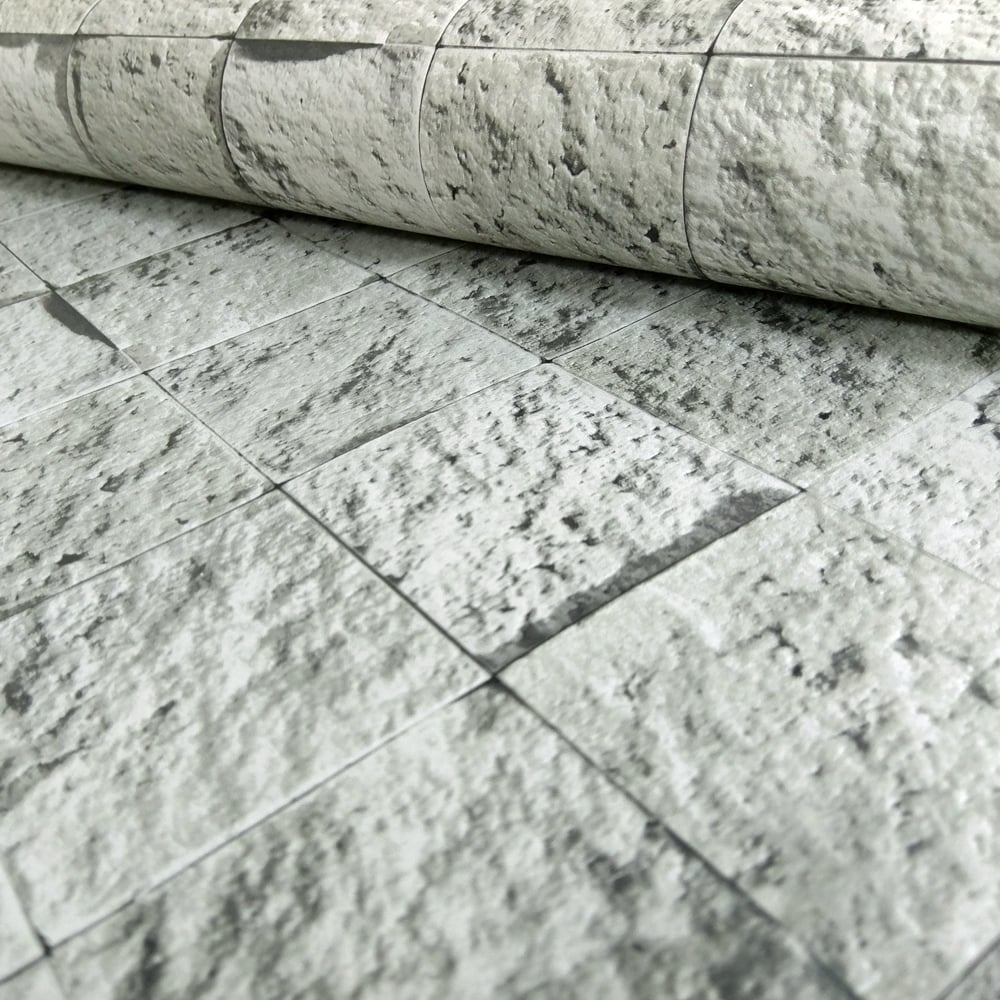 Muriva Bluff Square Tile Pattern Stone Brick Grey Vinyl Wallpaper J19009