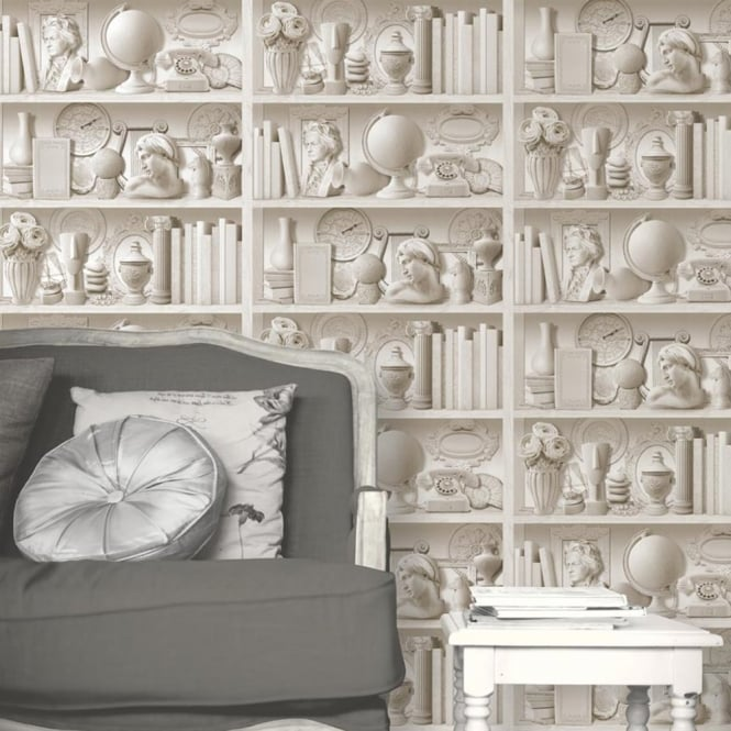 Muriva Book Shelf Pattern Stone Flowers Motif Embossed Vinyl Wallpaper J88407