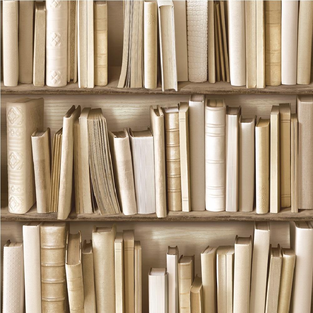 Muriva Books Faux Effect Wallpaper J43027 Cream I Want