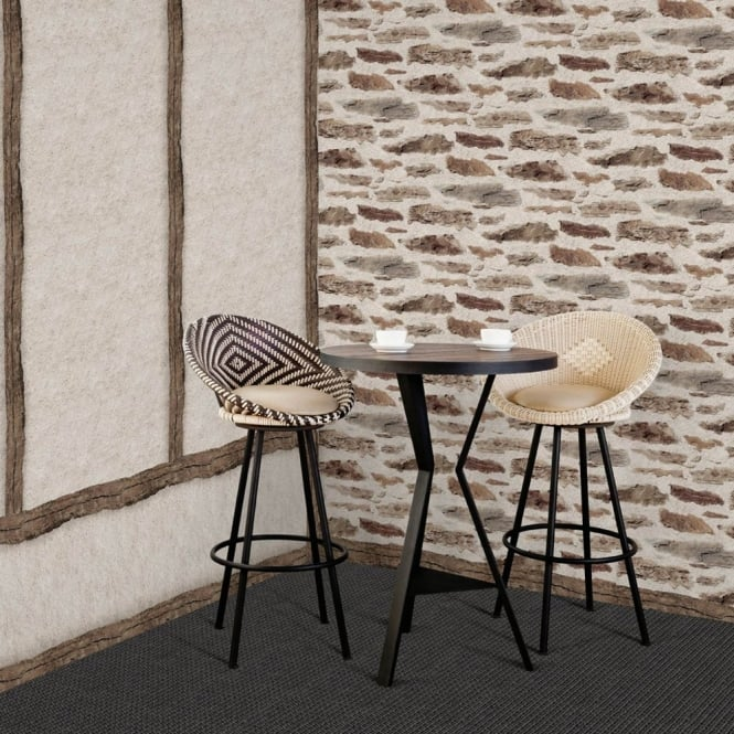 Muriva Brick Wall Pattern Rustic Faux Effect Stone Realistic Wallpaper J98707