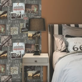 Muriva Brooklyn Photo Collage Pattern Wallpaper New York Motif A04309M