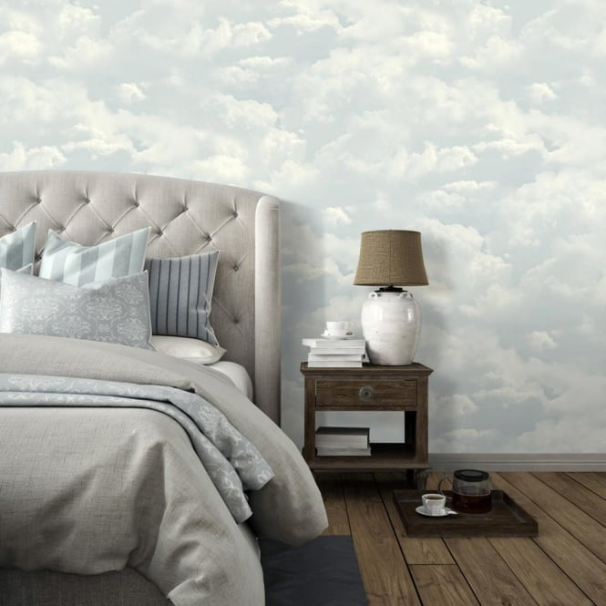 Muriva Cloud Pattern Wallpaper Faux Effect Realistic Blue Sky Motif L13101