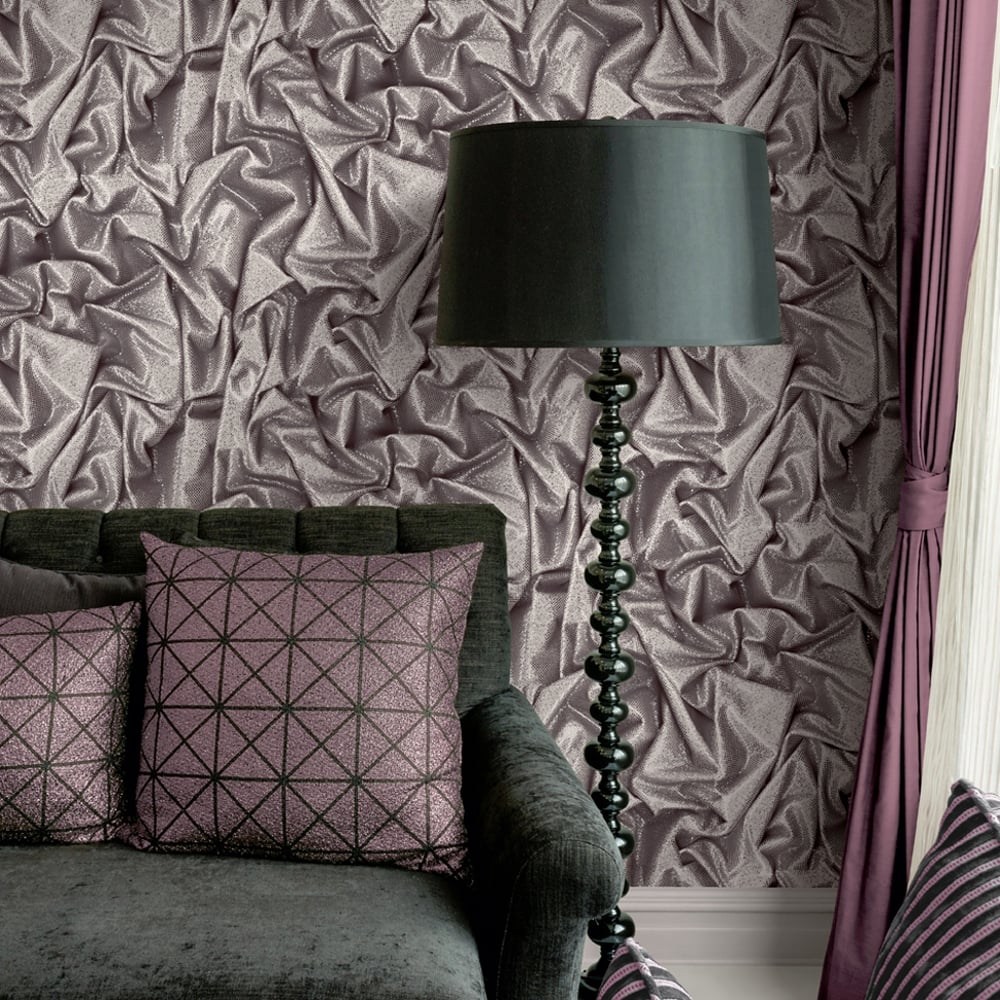 Muriva Crushed Satin Wallpaper Faux Effect Modern Realistic Glitter Silk L14209