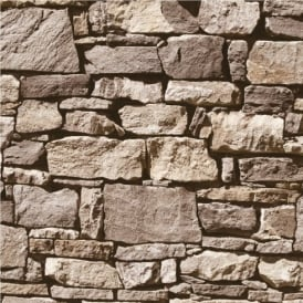 Muriva Dry Stone Wall Wallpaper J49407