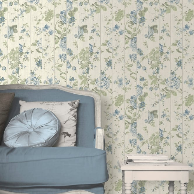 Muriva Floral Rose Flower Pattern Wallpaper Faux Wood Beam Effect Textured L13601