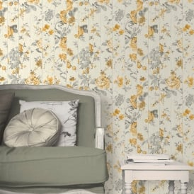 Muriva Floral Rose Flower Pattern Wallpaper Faux Wood Beam Effect Textured L13602