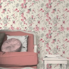 Muriva Floral Rose Flower Pattern Wallpaper Faux Wood Beam Effect Textured L13610