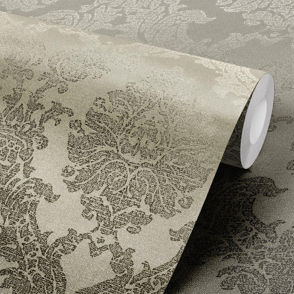 Muriva gia damask pattern wallpaper metallic foil motif for Foil wallpaper uk