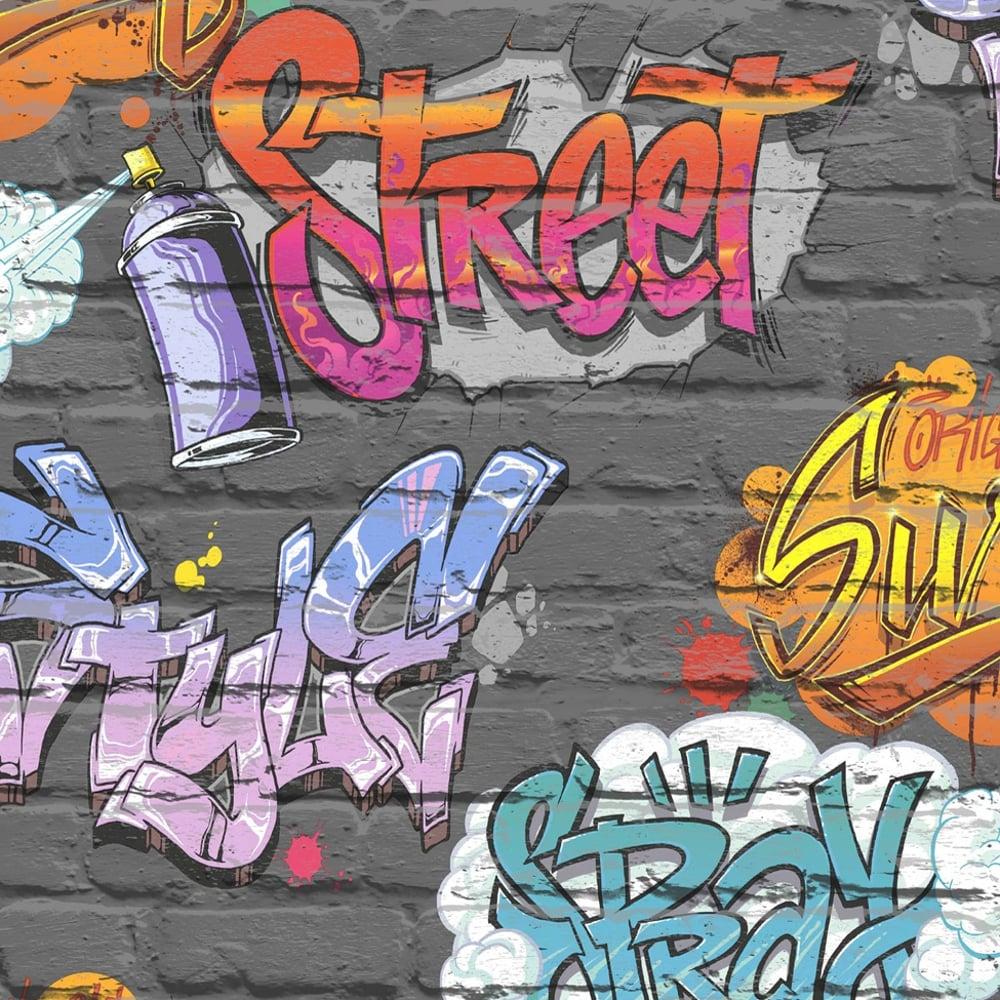 Muriva Graffiti Pattern Childrens Wallpaper Painted Brick Faux ...