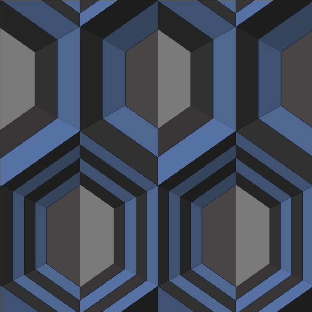 Muriva hexagon geometric wallpaper j40701 blue i want wallpaper