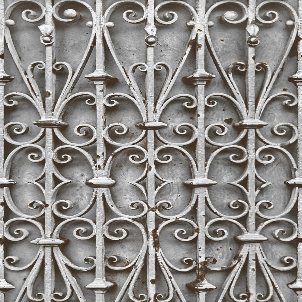 Muriva Iron Trellis Pattern Wallpaper Realistic Ornate Photographic Gate L14708