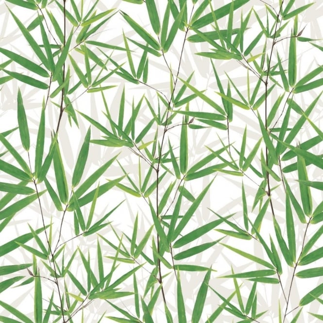Muriva Just Like It Bamboo Pattern Leaf Motif Vinyl Embossed Wallpaper J67504