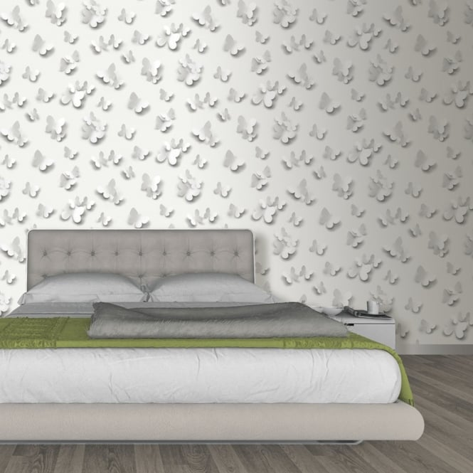 Muriva Just Like It Butterfly 3D Butterflies Pattern Motif Designer Washable Vinyl Wallpaper J65809