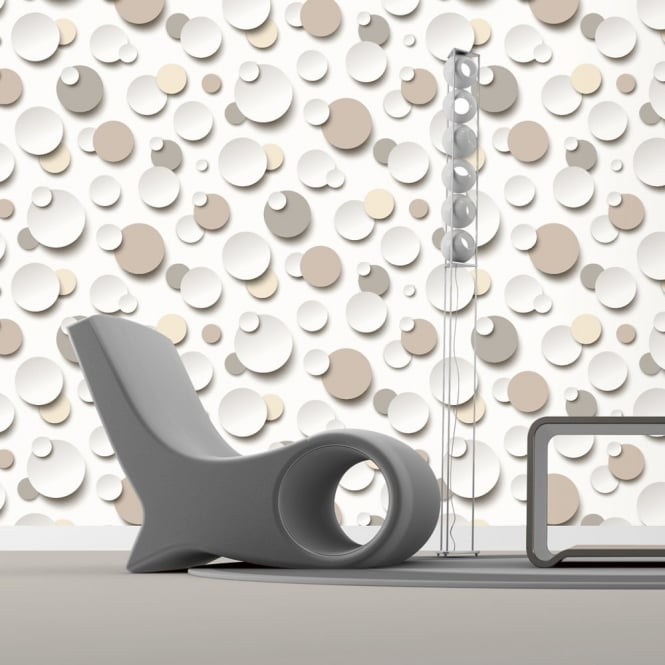 Muriva Just Like It Circles Polka Dot Spots Brown White Textured Designer Washable Vinyl Wallpaper J63407