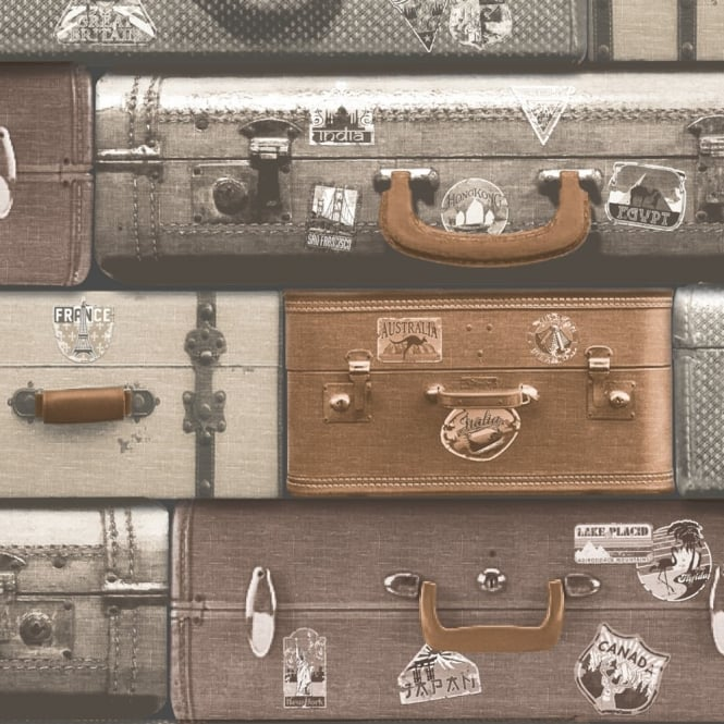 Muriva Just Like It Luggage Suitcase Motif Embossed Heavy Duty Blown Vinyl Wallpaper J70408