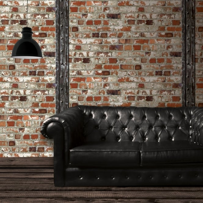 Muriva Just Like It Red Brick Wooden Beam Faux Stone Effect Blown Vinyl Wallpaper J71508