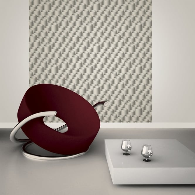 Muriva Just Like It Tubes 3D Circles Motif Pattern Designer Textured Vinyl Wallpaper J68109