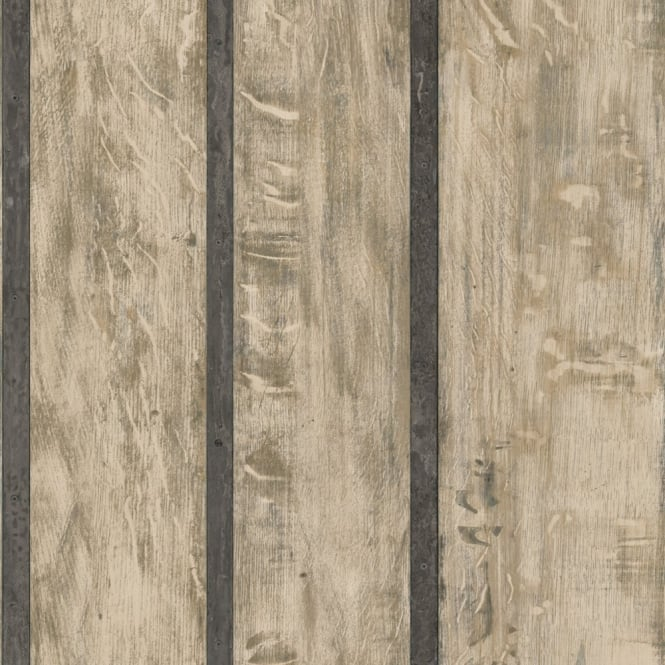 Muriva Just Like It Wood Wall Faux Wooden Panel Effect Textured Vinyl Wallpaper J68207