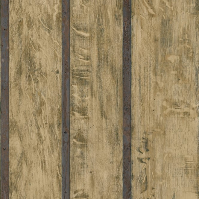 Muriva Just Like It Wood Wall Faux Wooden Panel Effect Textured Vinyl Wallpaper J68208