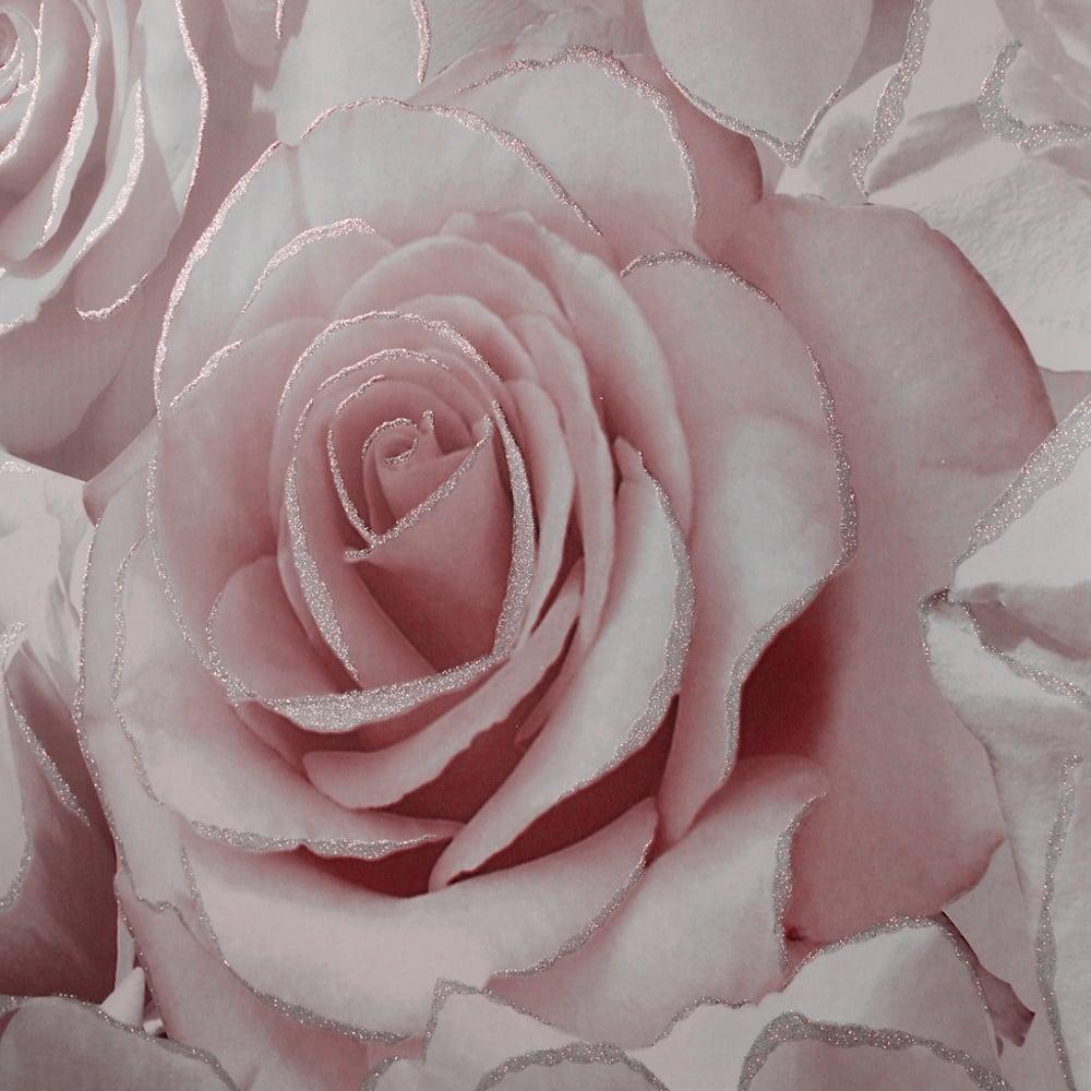 Muriva Madison Rose Pattern Wallpaper Flower Glitter Vinyl 139521