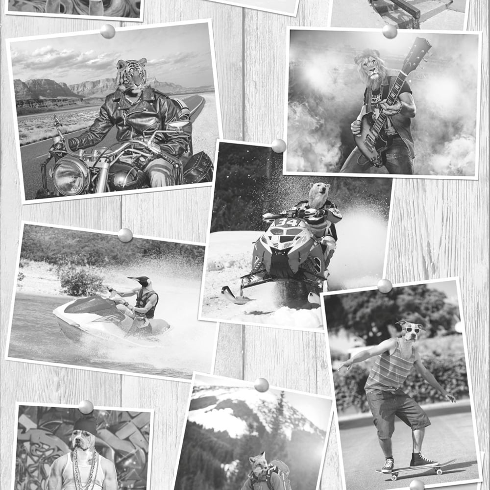 Manimals Photo Pattern Wallpaper Wood Effect Lion Tiger Dog Motif L39009