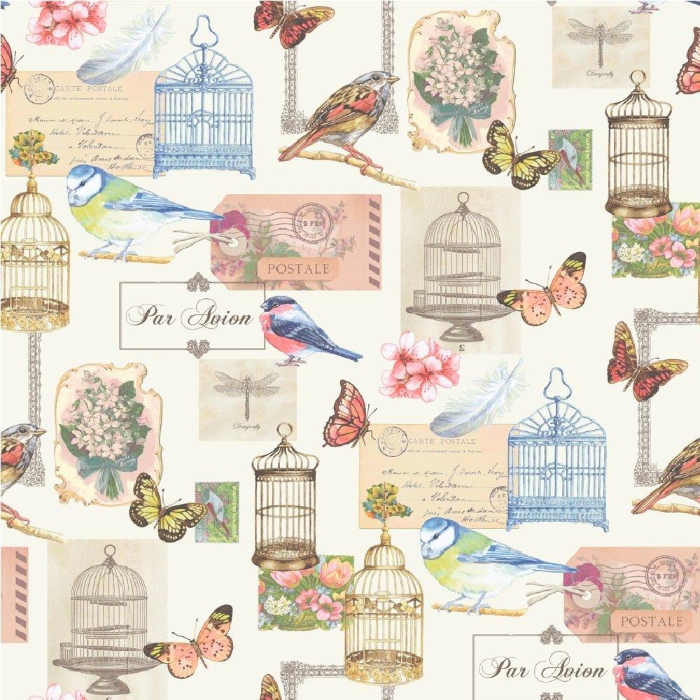 Muriva Birdcage Bird Butterfly Flowers Postcard Wallpaper Roll J51112